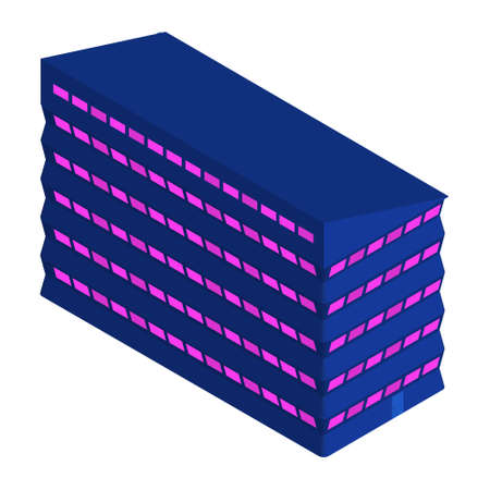 Isometric office building isolated on white. Blue house with purple windows. Vector EPS10.