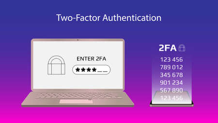 Concept of 2FA two-factor authentication with a laptop and codes on a smartphone. Protecting your money. Unlocking via mobile phone. Vector illustration for website or banner.