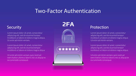 Banner for 2FA two-factor authentication with smartphone and padlock. Protecting your money. Unlocking via mobile phone. Vector illustration for a website.
