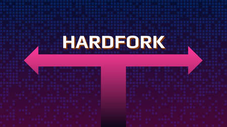 Cryptocurrency coin hardfork text over the split arrows. Splitting a coin into two ways. Vector illustration.