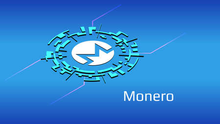 Monero XMR isometric token symbol in digital circle on blue background. Cryptocurrency icon. Vector illustration for website or banner.