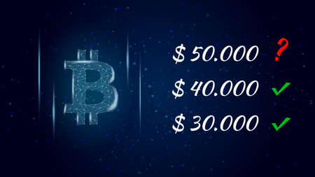 Can Bitcoin BTC hit 50000 dollars polygonal cryptocurrency token symbol and question mark next to the price, coin icon on dark background. Illustration for news.