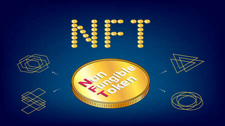NFT word from golden coins non fungible tokens infographics with big isometric coin on blue background. Pay for unique collectibles in games or art. Vector illustration.