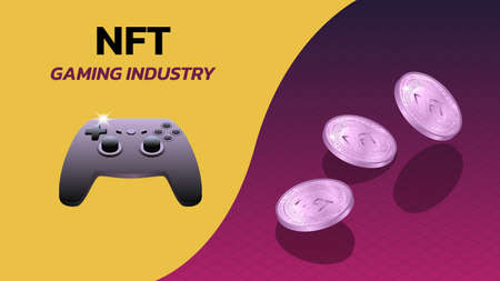 NFT non fungible tokens gaming industry banner with game console gamepad and isometric falling coins. Pay for unique collectibles in games or art. Vector illustration.