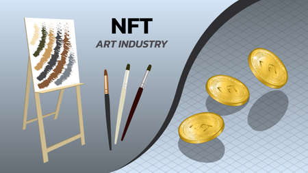 NFT non fungible tokens art industry banner with easel, brushes and isometric falling coins. Pay for unique collectibles in games or art. Vector illustration.