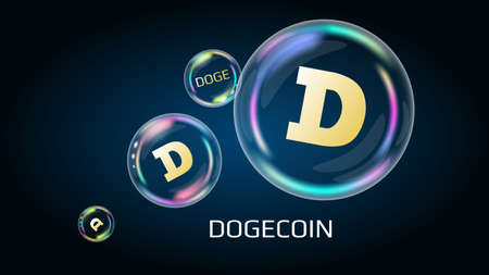 Dogecoin DOGE token symbol in soap bubble. The financial pyramid will burst soon and destroyed.