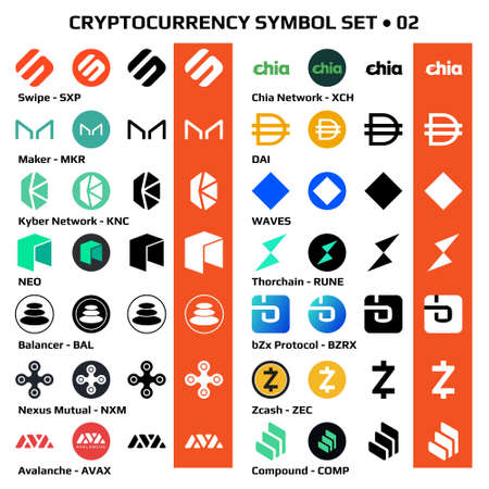 Set 02 of isolated cryptocurrency symbols, digital coins icons in monochrome and color. Vector illustration. Vetores