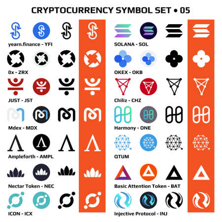 Set 05 of isolated cryptocurrency symbols, digital coins icons in monochrome and color. Vector illustration.