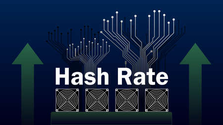 Hash rate of blockchain network increase. Cryptocurrency mining devices with green up arrows and PCB tracks in uptrend. Computing power has grown. Vector illustration.
