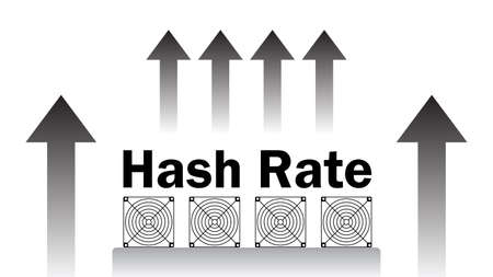 Hash rate of blockchain network increase. Cryptocurrency mining devices with in uptrend isolated on white. Computing power has grown. Vector illustration.
