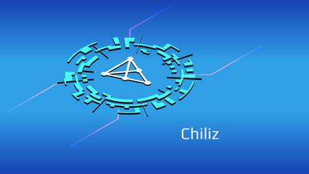 Chiliz CHZ isometric token symbol in digital circle on blue background. Cryptocurrency coin icon. Vector illustration. Ilustración de vector