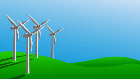 Concept using green energy to protect environment. Windmills generate electricity on green grass. Vector illustration.