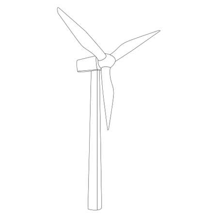 Windmill contour outline with three blades isolated on white. High mast wind farm. Alternative renewable wind energy.