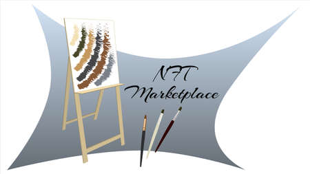 NFT marketplace auction non fungible tokens banner with easel and brushes isolated on white. New trend in collectibles sales. Pay for unique collectibles in games or art. Vector illustration.