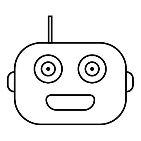 Simple robot head outline isolated on white. Droid icon. Vector illustration.