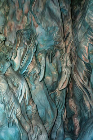 The natural texture of the cave with growths on the walls in digital processing as a drawing is similar to the drawings of Giger. Smooth texture. Blue and yellow color. Soft light and shapes. Standard-Bild