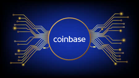 Coinbase cryptocurrency stock market symbol in gold circle with pcb tracks on digital blue background. Design element in techno style for website or banner. Crypto stock exchange for news and media.