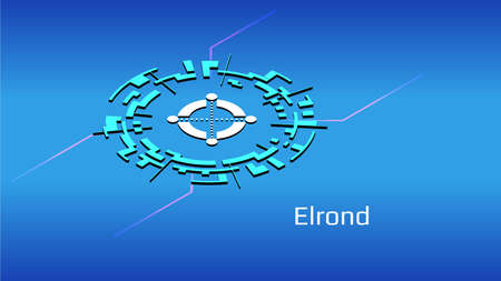 Elrond EGLD isometric token symbol in digital circle on blue background. Cryptocurrency coin icon for banner or news. Vector illustration.