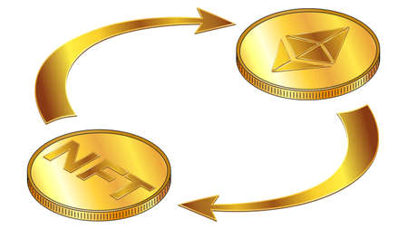 NFT and Ethereum ETH circulation isometric concept with gold coins and cyclical arrows isolated on white. Rotation of non fungible tokens and digital money. Vector design element.