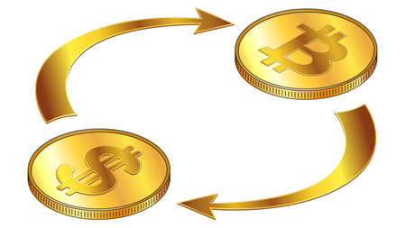 Dollars USD and Bitcoin BTC circulation isometric concept with gold coins and cyclical arrows isolated on white. Rotation of digital money. Vector design element. Illustration