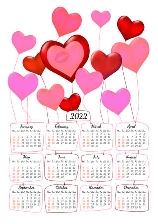 Vertical yearly calendar 2022 with heart shaped balloons romantic theme, week starts on Monday, on white. Annual big wall calendar colorful modern vector illustration. A4, A3 paper size. Illustration