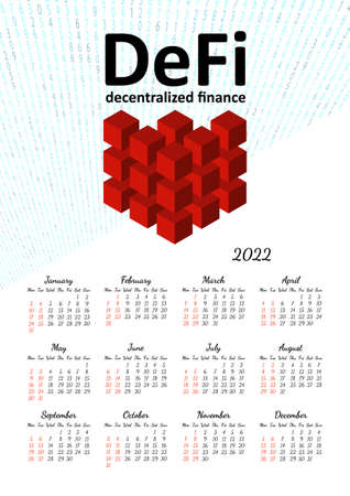Vertical yearly calendar 2022 with DeFi decentralized finance theme, week starts on Monday, on white. Annual big wall calendar colorful modern vector illustration. A4, A3 paper size.