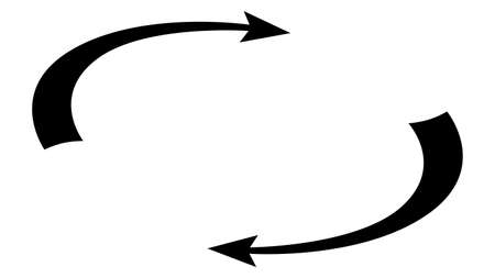 Circulation and rotation isometric concept with cyclic arrows and copy space between them in monochrome silhouette isolated on white. Vector design element.