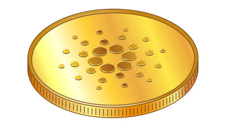 Gold coin Cardano ADA in isometric top view isolated on white. Vector design element.