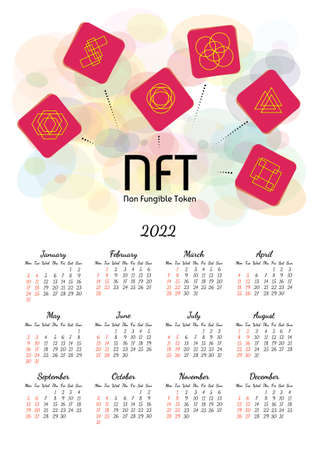 Vertical yearly calendar 2022 with NFT non fungible token theme, week starts on Monday, on white. Annual big wall calendar colorful modern vector illustration. A4, A3 paper size. Illustration