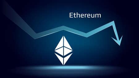 Ethereum ETH in downtrend and price falls down. Crypto coin symbol and down arrow. Uniswap crushed and fell down. Cryptocurrency trading crisis and crash. Vector illustration. Illustration