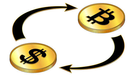 Dollars USD and Bitcoin BTC circulation isometric concept with black symbols on gold coins and cyclical arrows isolated on white. Rotation of digital money. Vector design element. Illustration
