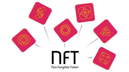 NFT non fungible colored tokens infographics isolated on white. Pay for unique collectibles in games or art. Vector illustration.