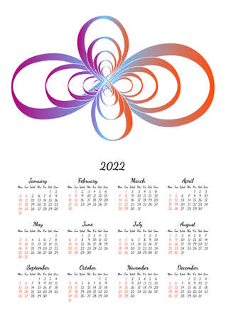 Vertical yearly calendar 2022 with abstract infinity shape, week starts on Monday, on white. Annual big wall calendar colorful modern vector illustration. A4, A3 paper size.