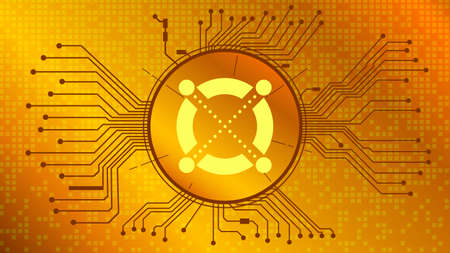 Elrond EGLD cryptocurrency token symbol in circle with PCB tracks on gold background. Digital currency coin icon in techno style for website or banner. Vector illustration.