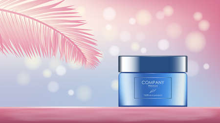 Realistic cream jar with palm leaf and glares, banner with copy space for cosmetology and skincare in blue and pink. Advertisement layout beauty product. Vector illustration.