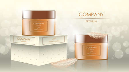 Realistic cream jars with feathers, banner with copy space for cosmetology and skincare on glare background. Advertisement layout beauty product. Vector illustration. Illustration