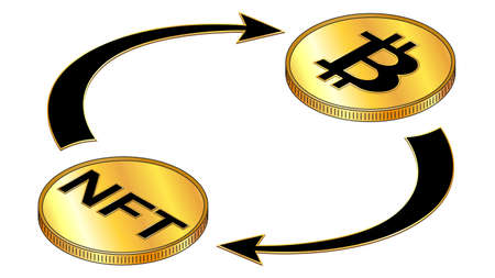 NFT and Bitcoin circulation isometric concept with black symbols on gold coins and cyclical arrows isolated on white. Vector design element. Illustration