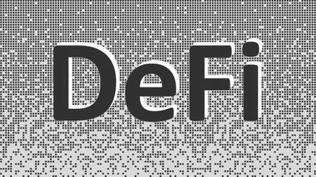 Defi - decentralized finance, black and white text on fragmented matrix background from squares. Ecosystem of financial applications and services based on public blockchains. Vector illustration.