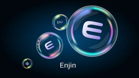 Enjin ENJ token symbol in soap bubble. The financial pyramid will burst soon and destroyed. Standard-Bild