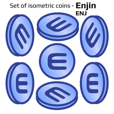 Enjin ENJ set of simple coins in isometric view in blue isolated on white. Vector illustration.