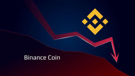 Binance Coin BNB in downtrend and price falls down. Crypto coin symbol and red down arrow. Uniswap crushed and fell down. Cryptocurrency trading crisis and crash. Vector illustration. Illustration