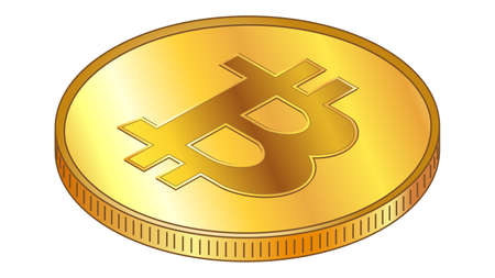 Gold coin Bitcoin BTC in isometric top view isolated on white. Vector design element. Illustration