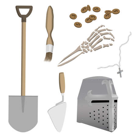 Set of antiquities from medieval archaeological site of knight-crusader. Excavation tools. Vector illustration. Illustration