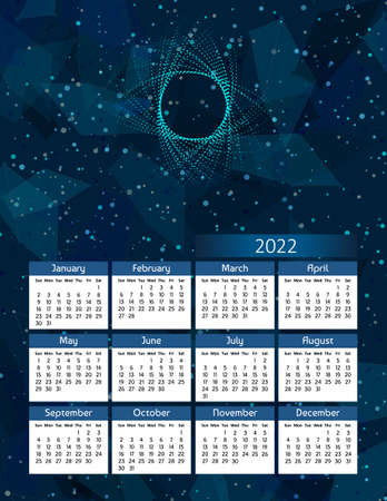 Vertical futuristic yearly calendar 2022, week starts on Sunday.  Annual big wall calendar colorful polygonal modern illustration in blue. A4 Us letter paper size.