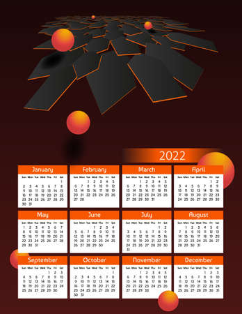 Vertical futuristic yearly calendar 2022, week starts on Sunday. Annual big wall calendar colorful modern polygonal illustration in orange. A4 Us letter paper size.