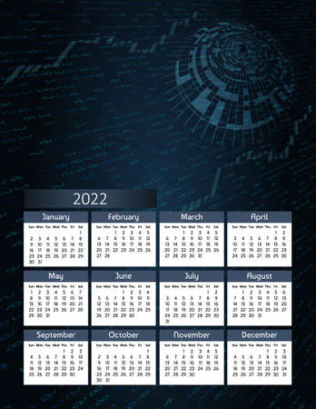 Vertical futuristic yearly calendar 2022, week starts on Sunday.  Annual big wall calendar colorful digital modern illustration in blue. A4 Us letter paper size.