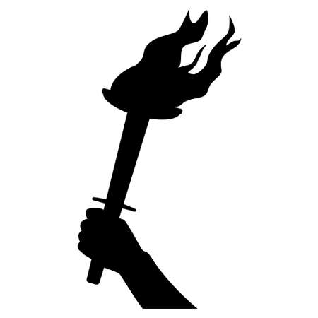 Torch in hand silhouette isolated on white. Monochrome design element. Vector illustration. Illustration