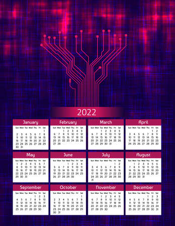 Vertical futuristic yearly calendar 2022 with pcb tracks, week starts on Sunday. Annual big wall calendar colorful modern digital illustration in red and blue. A4 Us letter paper size.