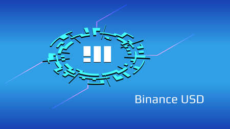 Binance USD BUSD isometric token symbol in digital circle on blue background. Cryptocurrency coin icon for banner or news. Vector illustration.