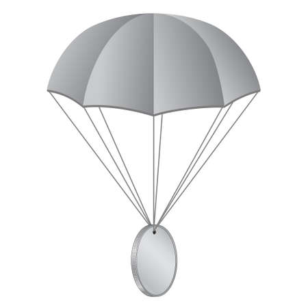 Airdrop concept parachute with coin isolated on white. Blank gray coin with copy space for symbol. Vector illustration.